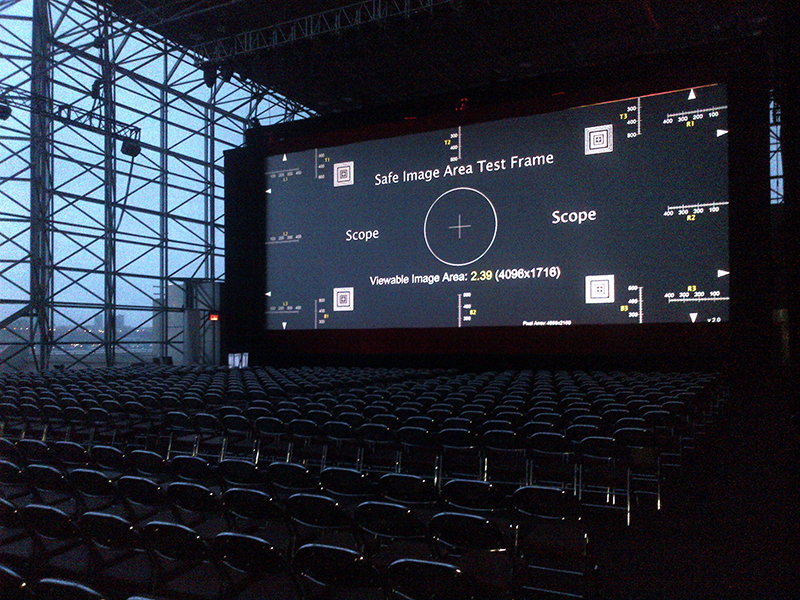 A/V equipment test for the X-Men Days of Future Past (2014) global premiere in Manhattan, NY.