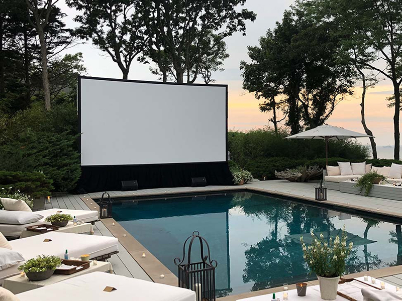 Screen setup at a private residence in The Hamptons, NY.