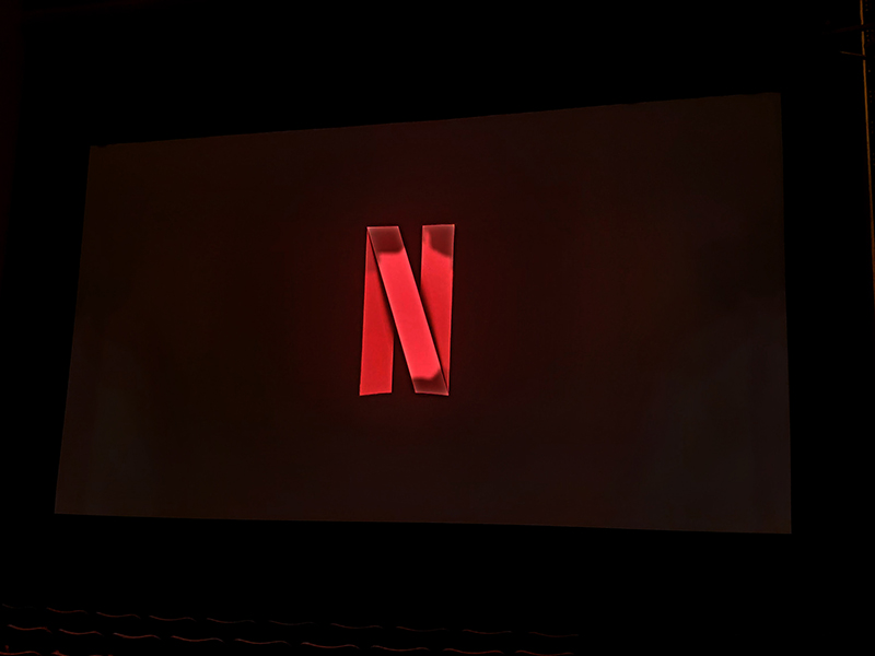 Setup for a screening for Netflix.