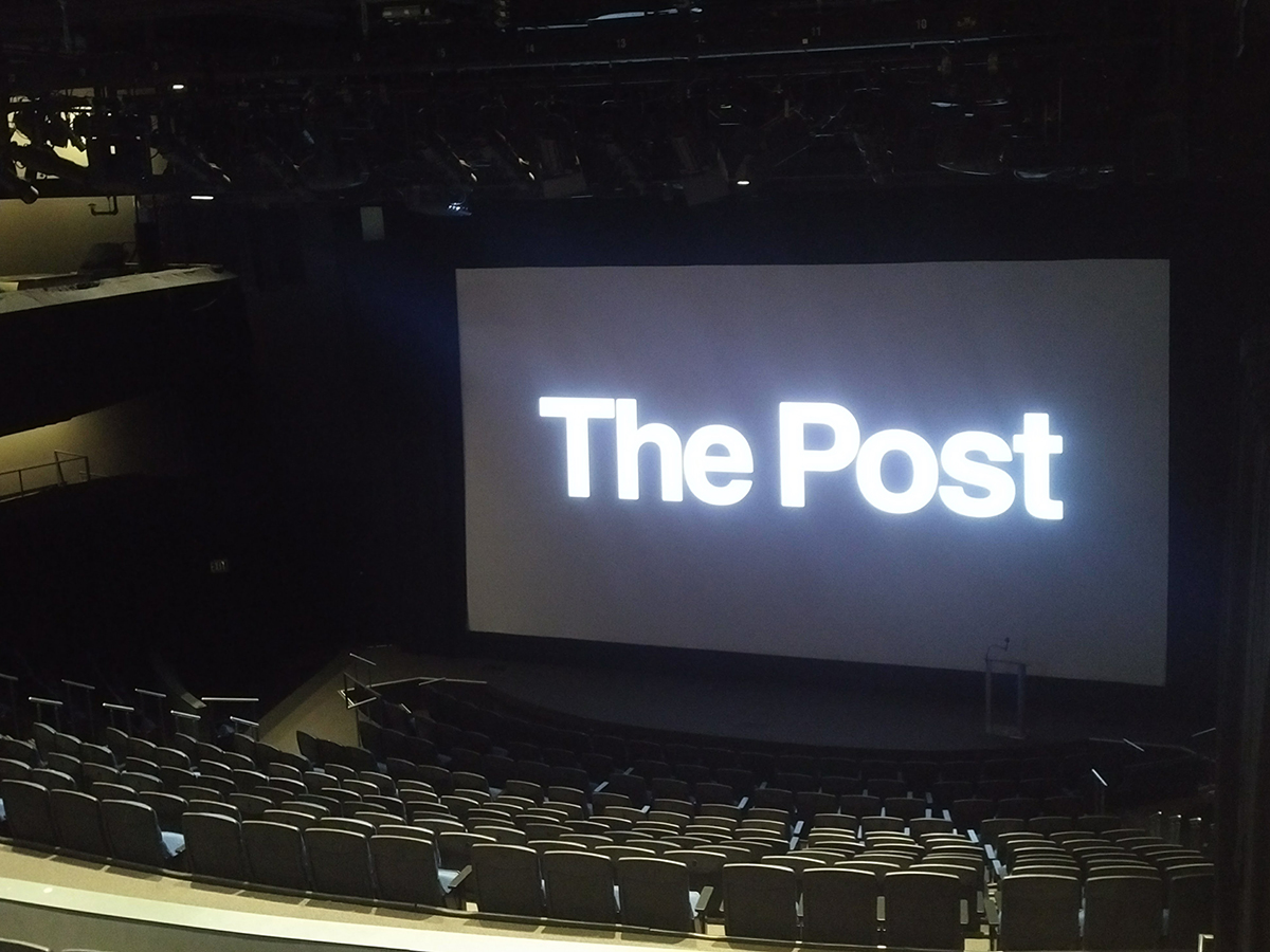 Setup for a screening of The Post (2017).