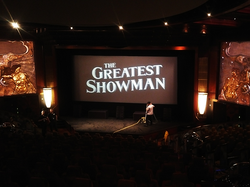 Setup for a screening of The Greatest Showman (2017).