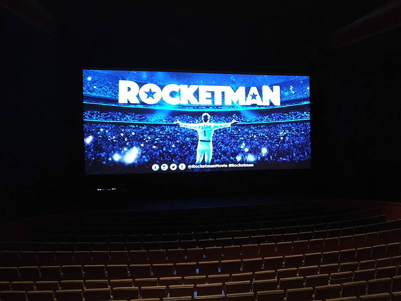Setup for a screening of Rocketman (2019).