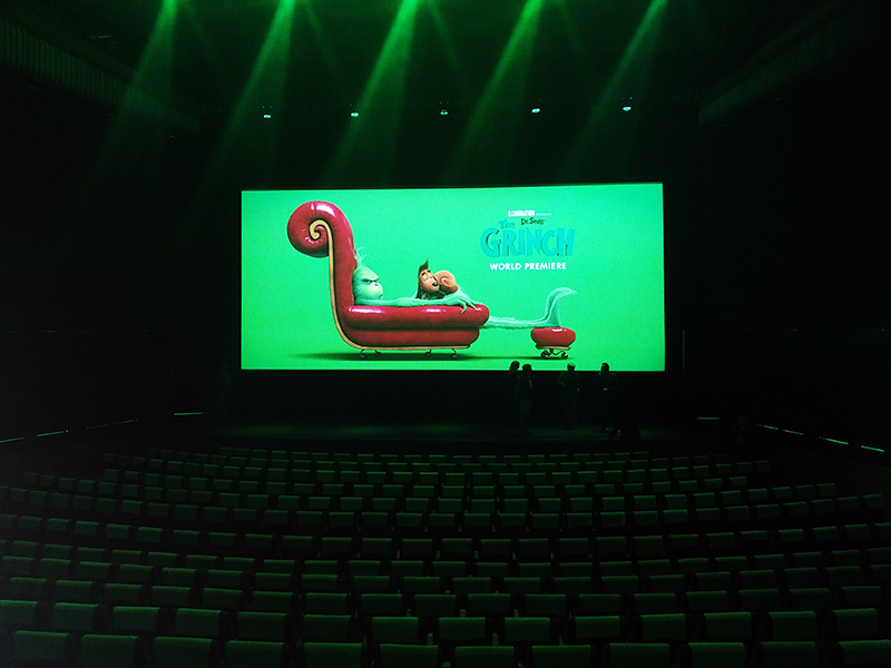 Setup for a screening of The Grinch (2018).