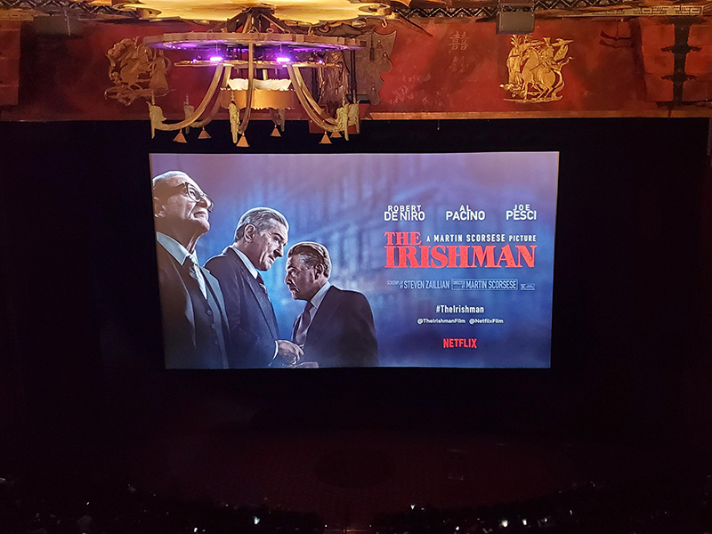 Setup for Netflix's The Irishman (2019) screening in Manhattan, NY.