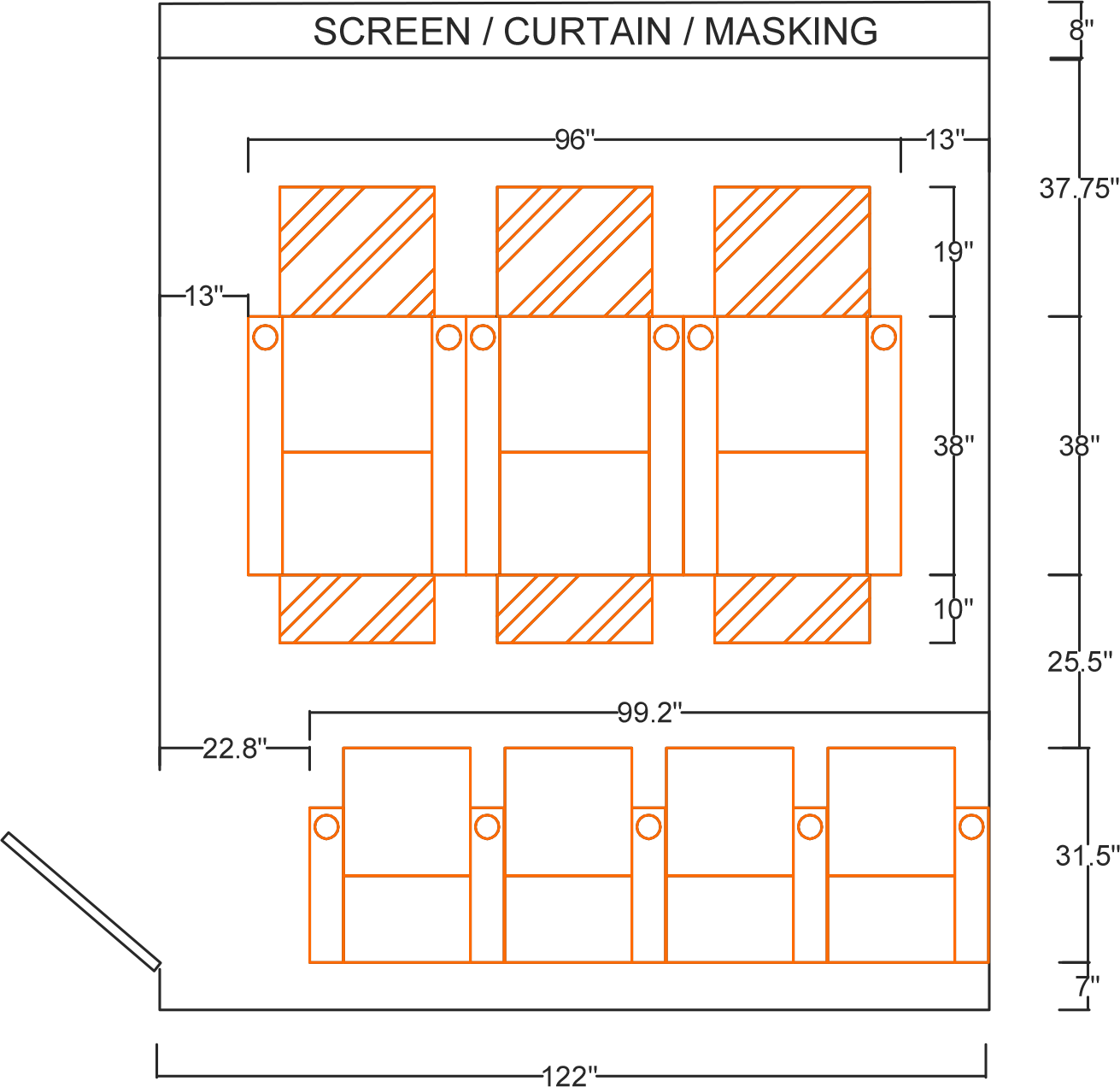 CAD sketch of a home theater design.